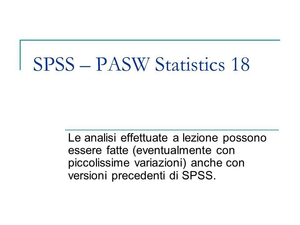 SPSS – PASW Statistics 18