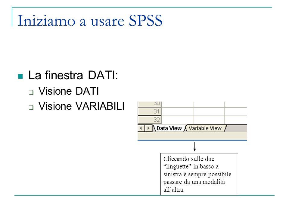 Iniziamo a usare SPSS La finestra DATI: Visione DATI Visione VARIABILI