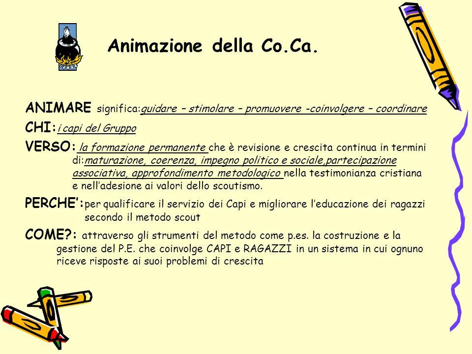 Animazione della Co.Ca. ANIMARE significa:guidare – stimolare – promuovere -coinvolgere – coordinare.