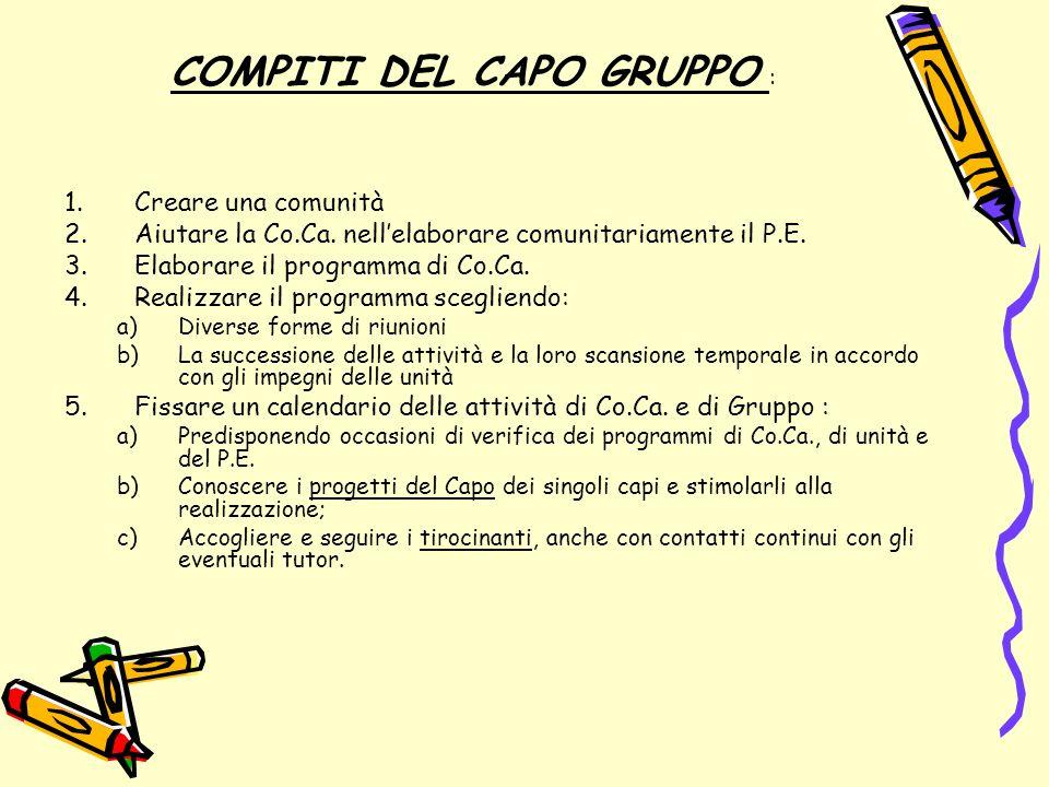 COMPITI DEL CAPO GRUPPO :