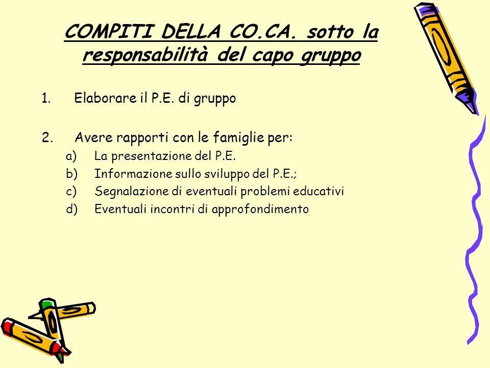 COMPITI DELLA CO.CA. sotto la responsabilità del capo gruppo