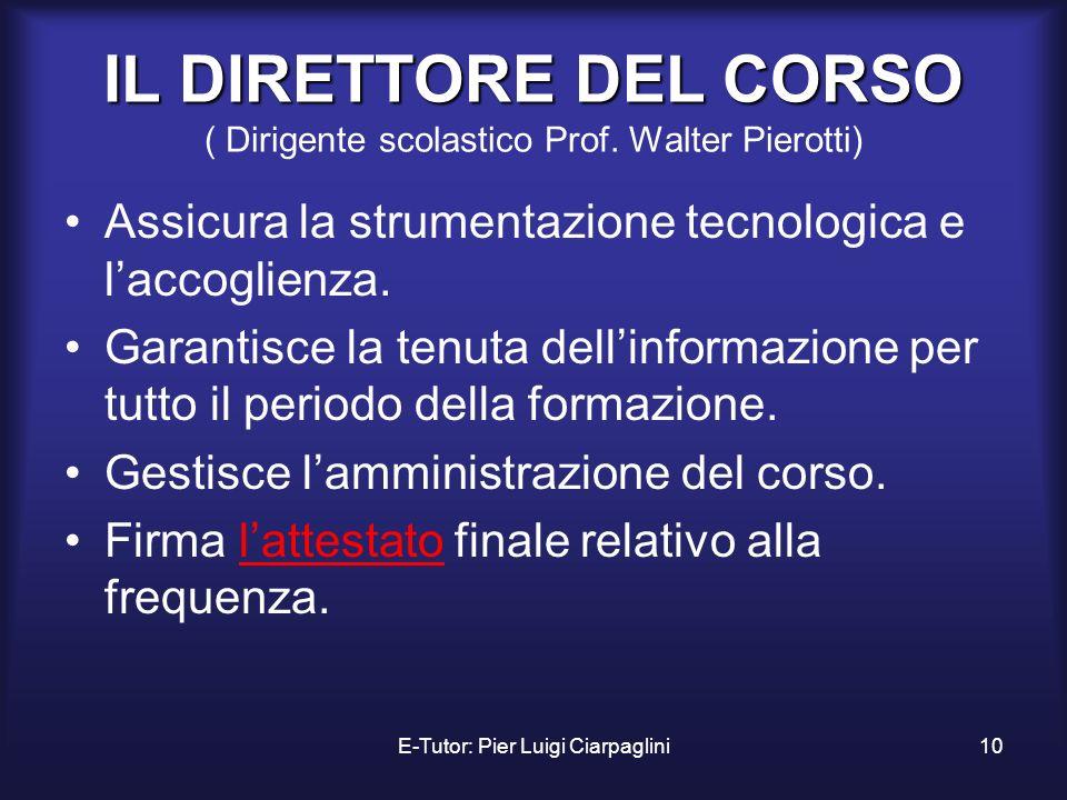 IL DIRETTORE DEL CORSO ( Dirigente scolastico Prof. Walter Pierotti)