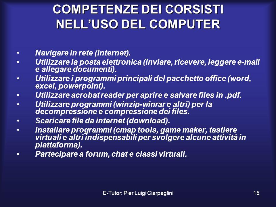 COMPETENZE DEI CORSISTI NELL'USO DEL COMPUTER