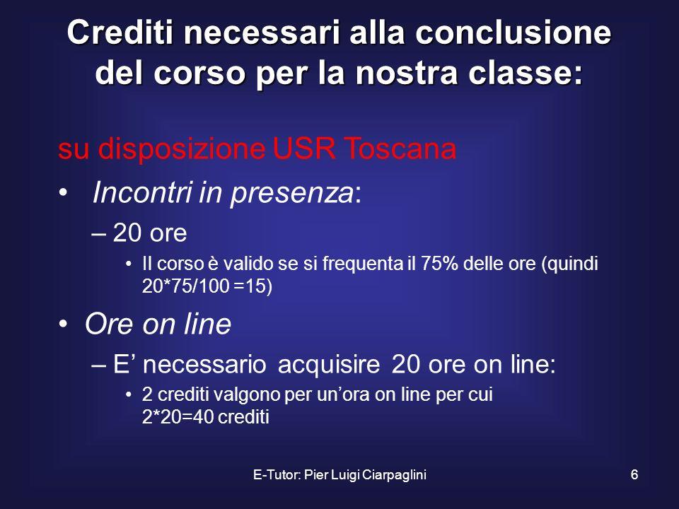 Crediti necessari alla conclusione del corso per la nostra classe: