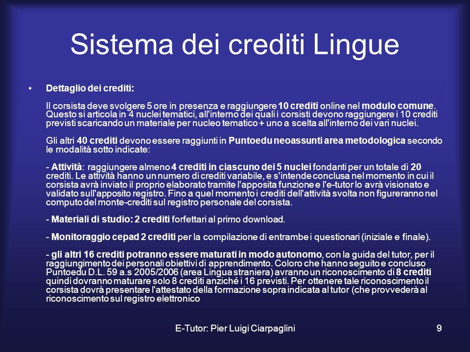 Sistema dei crediti Lingue
