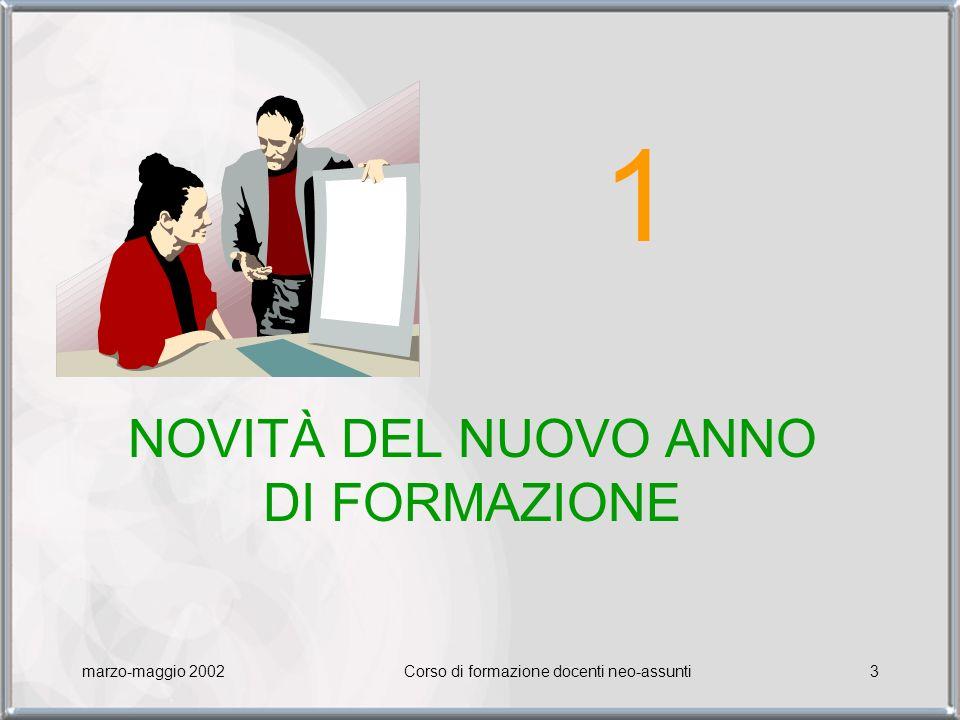 1 NOVITÀ DEL NUOVO ANNO DI FORMAZIONE marzo-maggio 2002