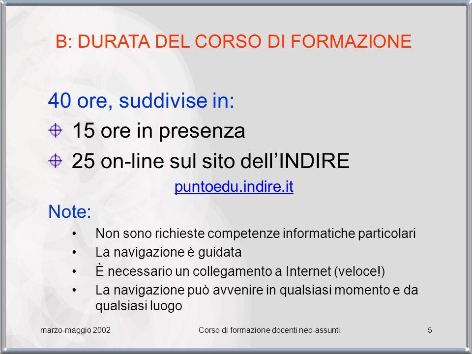 25 on-line sul sito dell'INDIRE