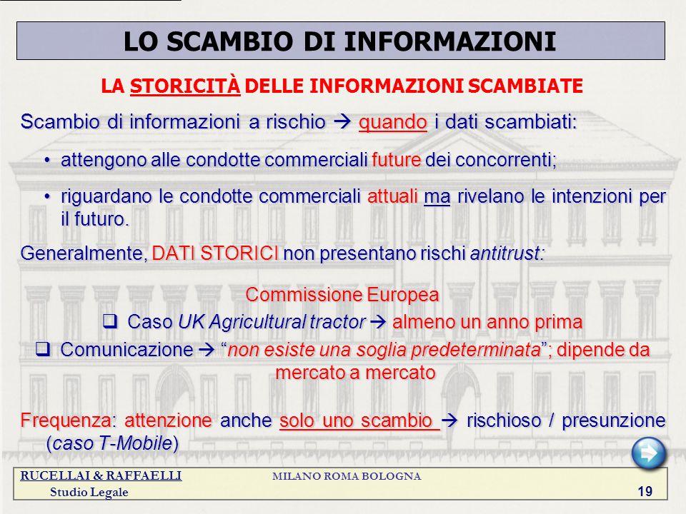 LO SCAMBIO DI INFORMAZIONI LA STORICITÀ DELLE INFORMAZIONI SCAMBIATE