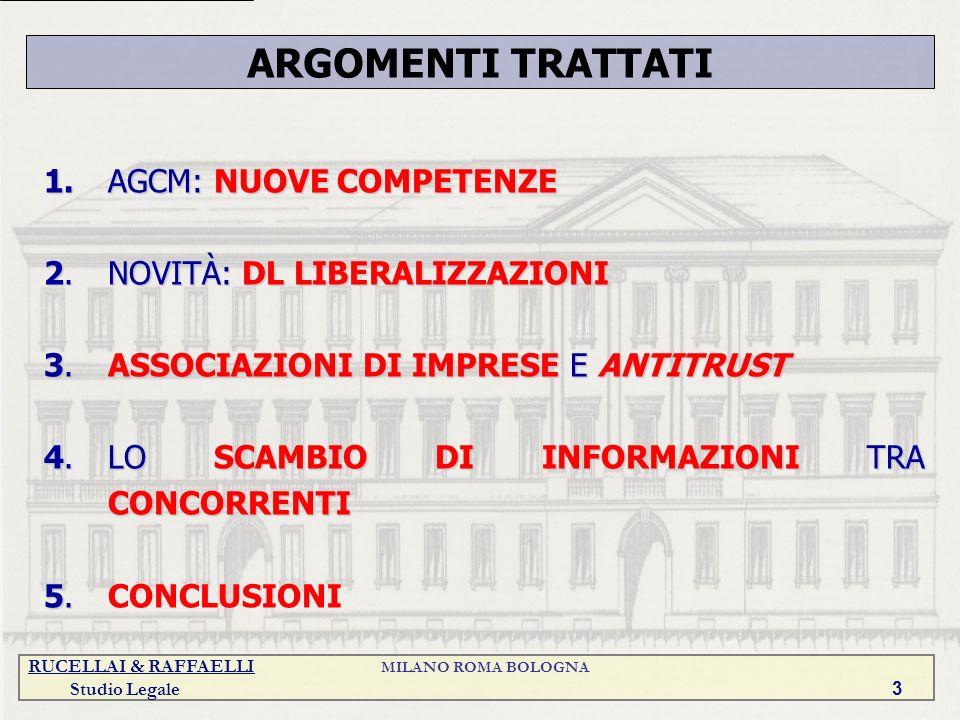 ARGOMENTI TRATTATI 1. AGCM: NUOVE COMPETENZE