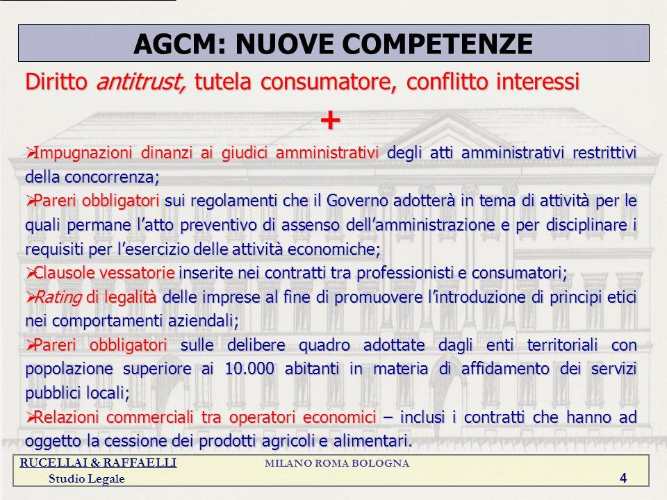 AGCM: NUOVE COMPETENZE