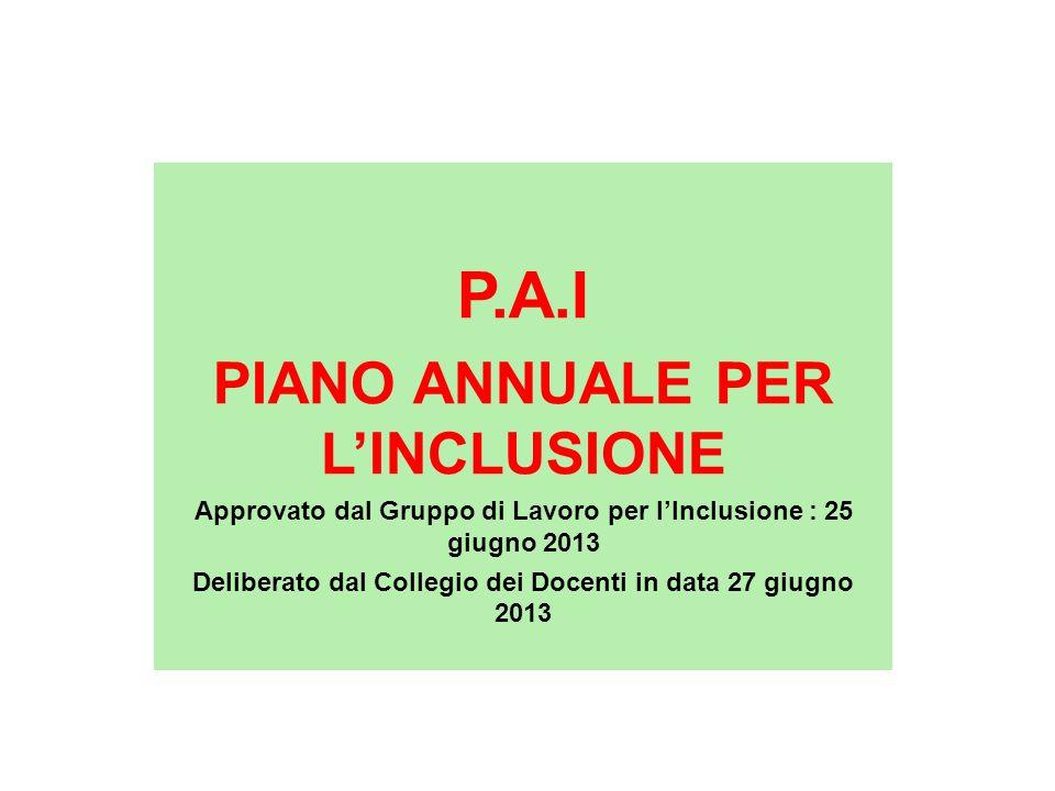P.A.I PIANO ANNUALE PER L'INCLUSIONE