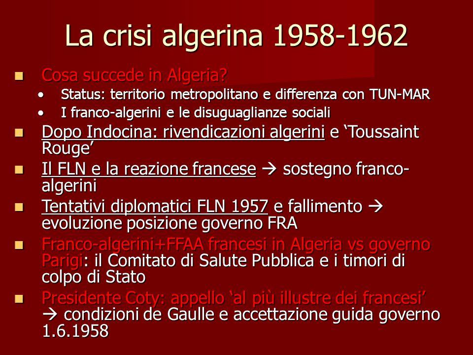 La crisi algerina 1958-1962 Cosa succede in Algeria