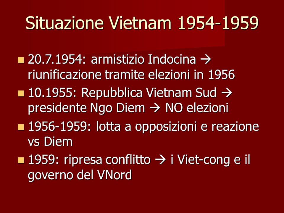 Situazione Vietnam 1954-1959 20.7.1954: armistizio Indocina  riunificazione tramite elezioni in 1956.