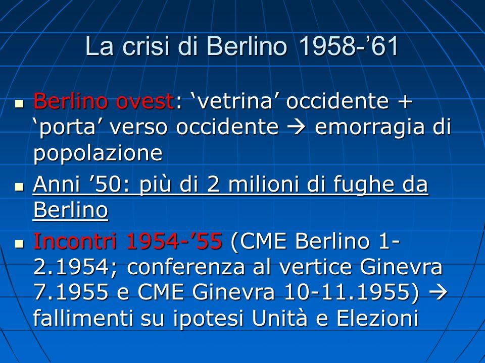 La crisi di Berlino 1958-'61 Berlino ovest: 'vetrina' occidente + 'porta' verso occidente  emorragia di popolazione.
