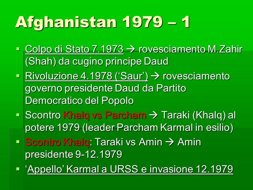Afghanistan 1979 – 1 Colpo di Stato 7.1973  rovesciamento M.Zahir (Shah) da cugino principe Daud.