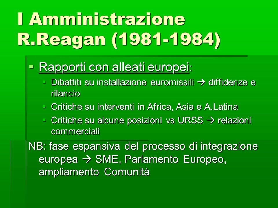 I Amministrazione R.Reagan (1981-1984)