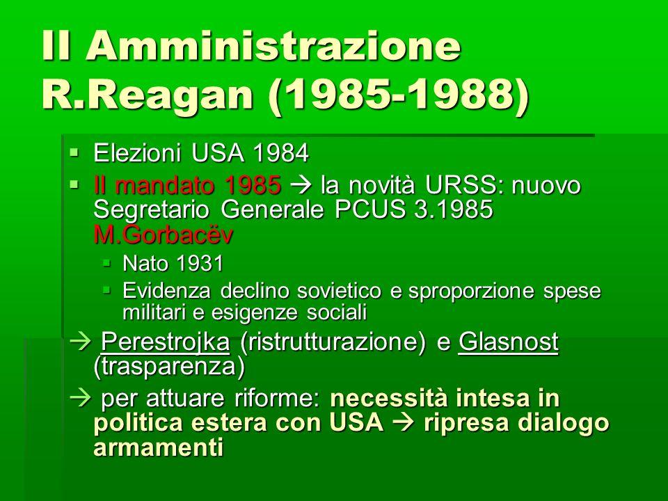 II Amministrazione R.Reagan (1985-1988)