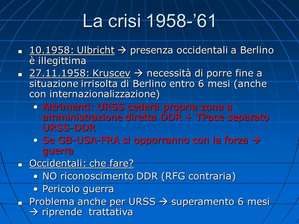 La crisi 1958-'61 10.1958: Ulbricht  presenza occidentali a Berlino è illegittima.