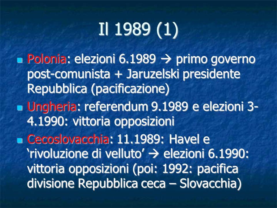 Il 1989 (1) Polonia: elezioni 6.1989  primo governo post-comunista + Jaruzelski presidente Repubblica (pacificazione)