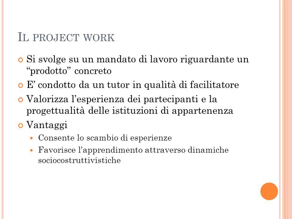 Il project work Si svolge su un mandato di lavoro riguardante un prodotto concreto. E' condotto da un tutor in qualità di facilitatore.