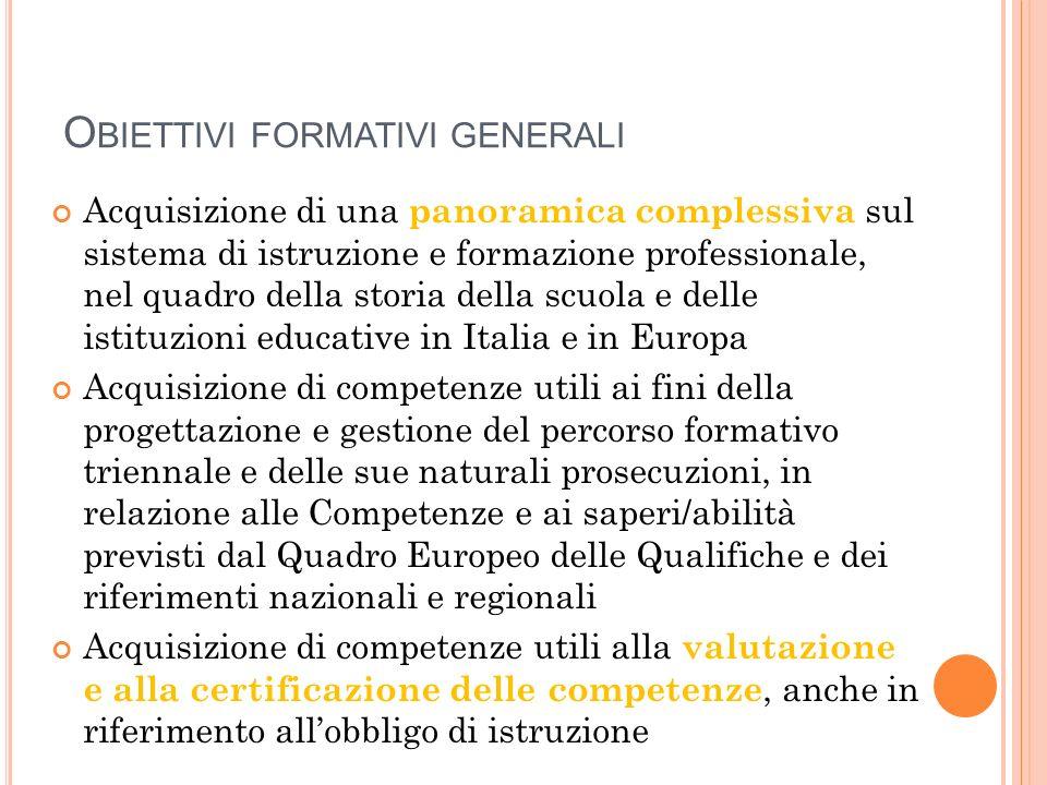 Obiettivi formativi generali