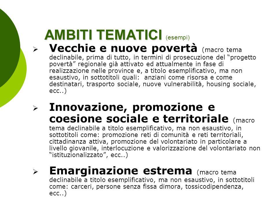 AMBITI TEMATICI (esempi)