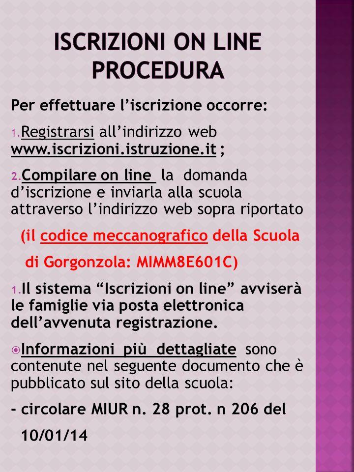 ISCRIZIONI ON LINE Procedura