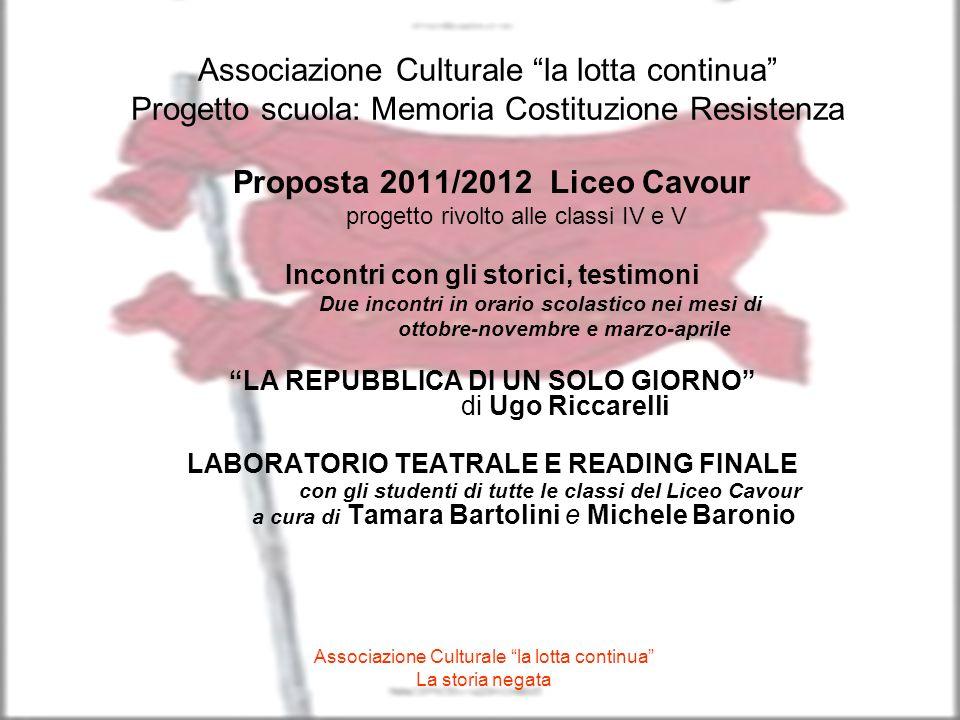 Proposta 2011/2012 Liceo Cavour