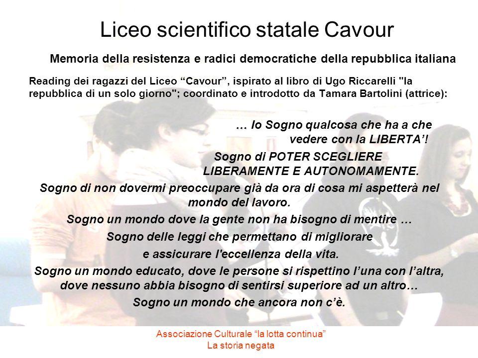 Liceo scientifico statale Cavour Memoria della resistenza e radici democratiche della repubblica italiana