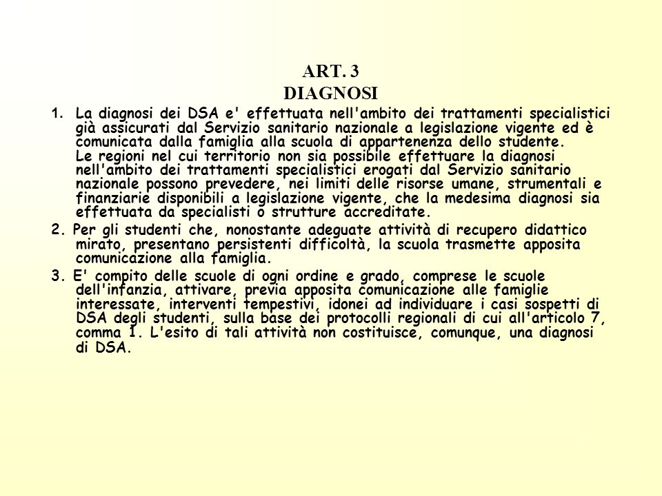 ART. 3 DIAGNOSI.