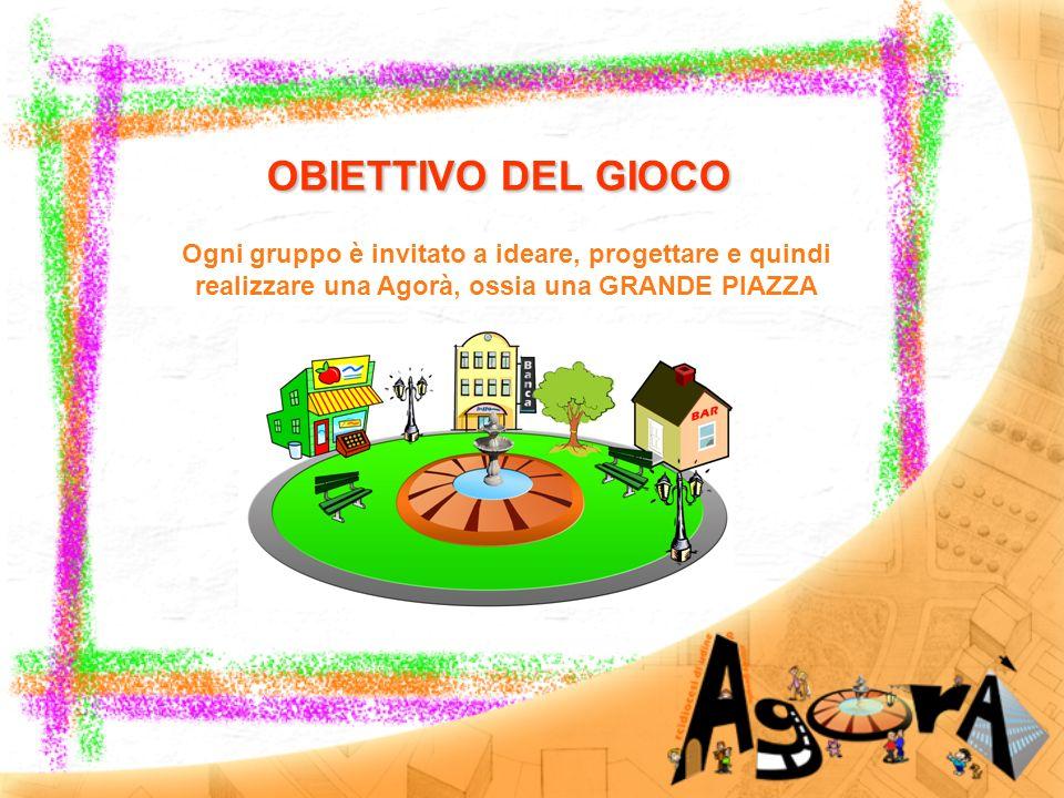 OBIETTIVO DEL GIOCO Ogni gruppo è invitato a ideare, progettare e quindi realizzare una Agorà, ossia una GRANDE PIAZZA.