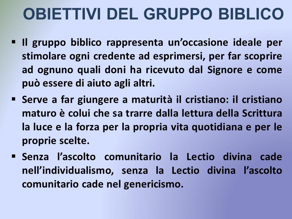 OBIETTIVI DEL GRUPPO BIBLICO