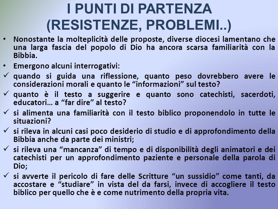 I PUNTI DI PARTENZA (RESISTENZE, PROBLEMI..)
