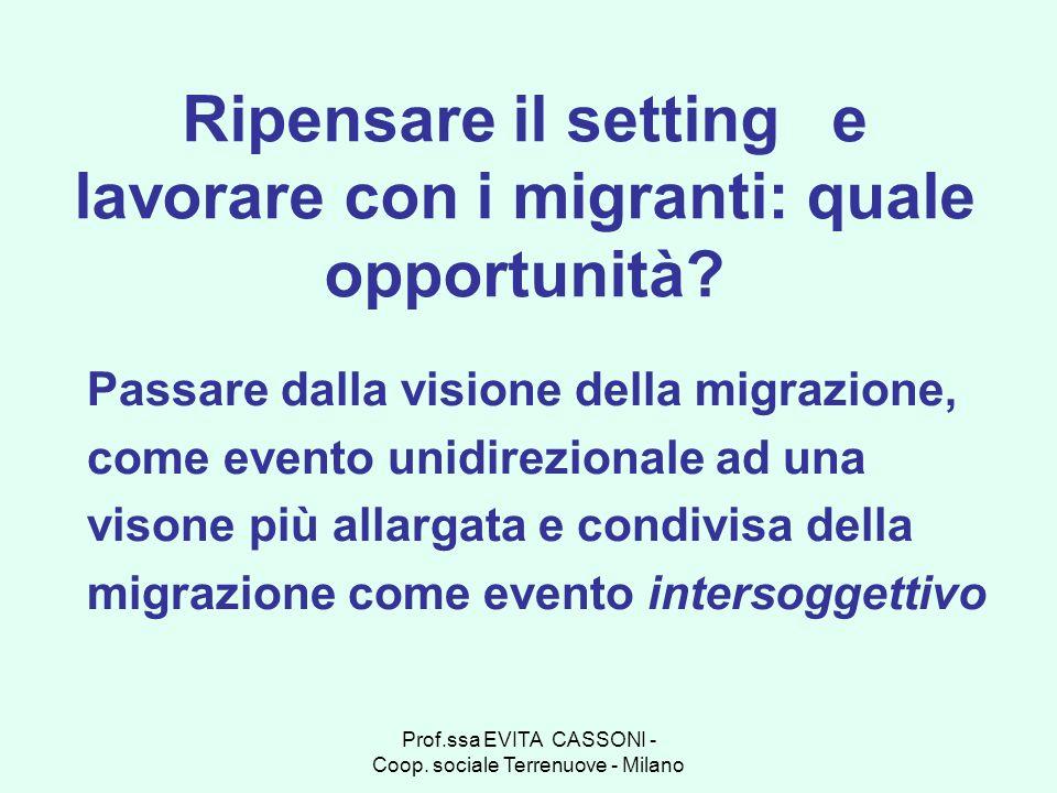 Ripensare il setting e lavorare con i migranti: quale opportunità