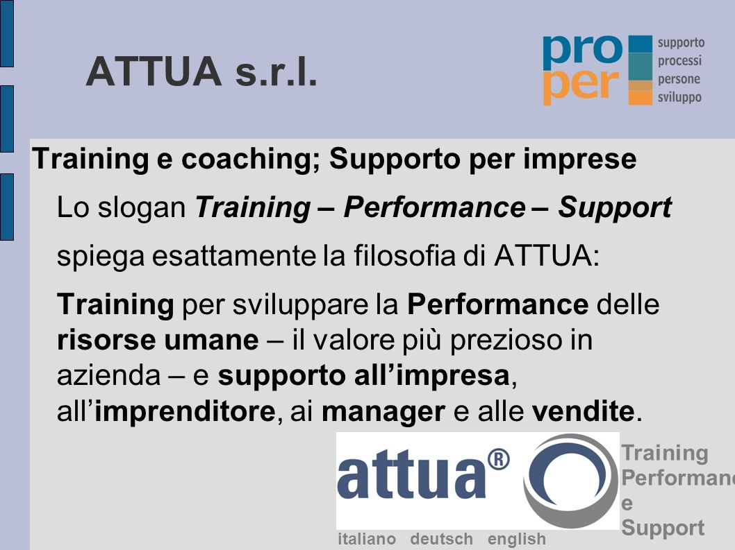 ATTUA s.r.l. Training e coaching; Supporto per imprese
