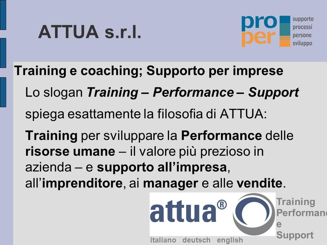 ATTUA s.r.l. Training e coaching; Supporto per imprese