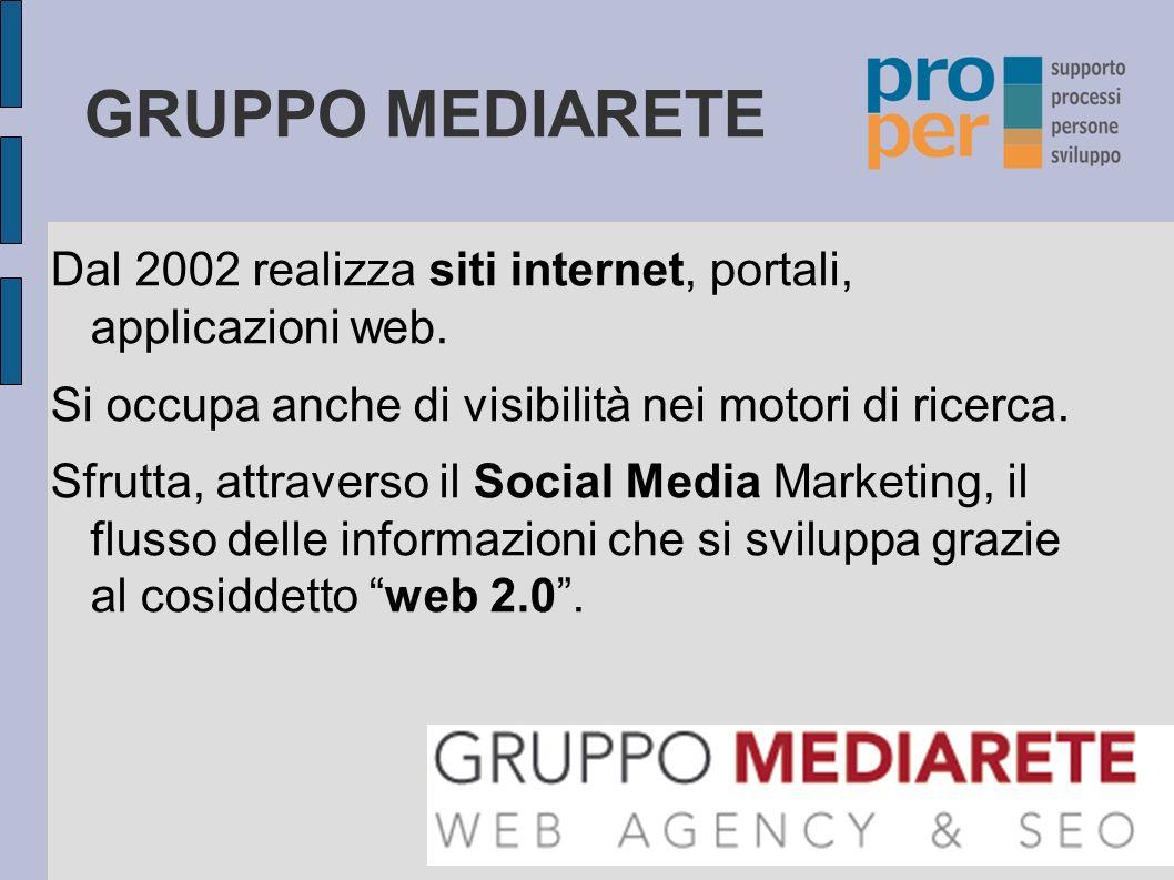 GRUPPO MEDIARETE Dal 2002 realizza siti internet, portali, applicazioni web. Si occupa anche di visibilità nei motori di ricerca.