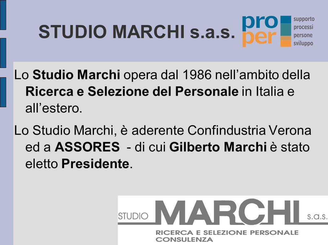 STUDIO MARCHI s.a.s. Lo Studio Marchi opera dal 1986 nell'ambito della Ricerca e Selezione del Personale in Italia e all'estero.
