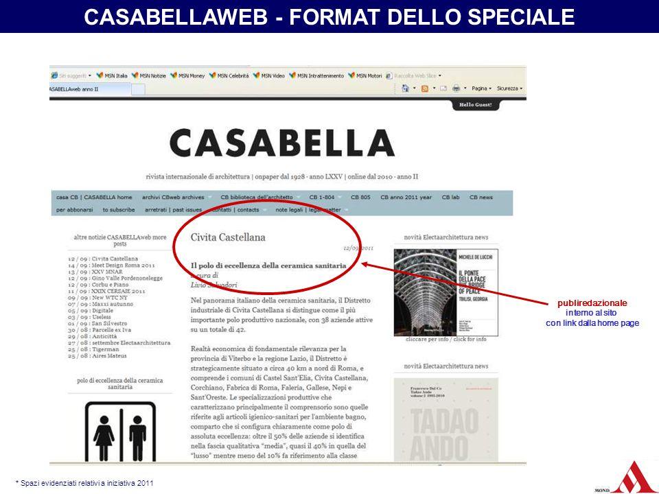 CASABELLAWEB - FORMAT DELLO SPECIALE con link dalla home page