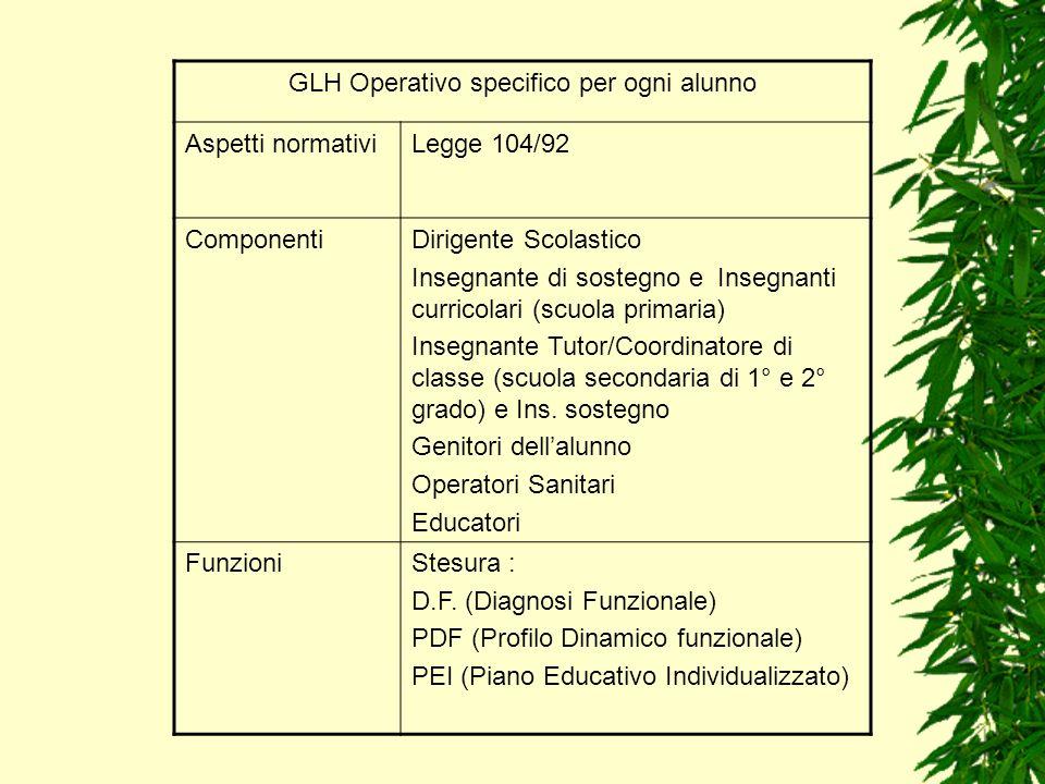 GLH Operativo specifico per ogni alunno