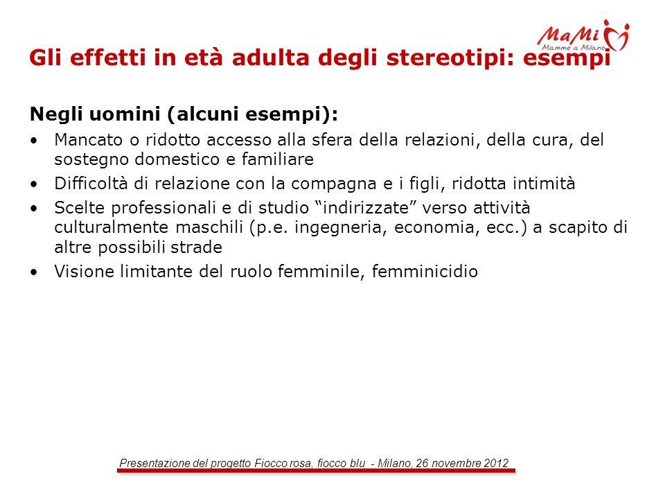 Gli effetti in età adulta degli stereotipi: esempi