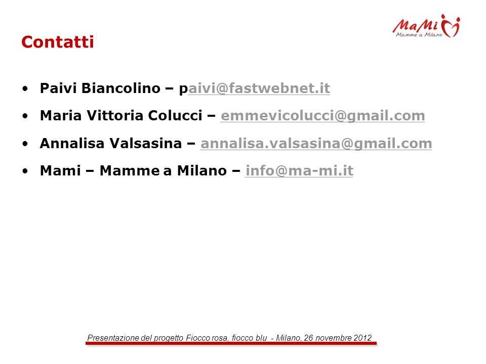 Contatti Paivi Biancolino – paivi@fastwebnet.it