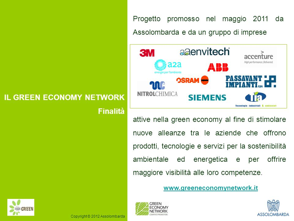 IL GREEN ECONOMY NETWORK Finalità