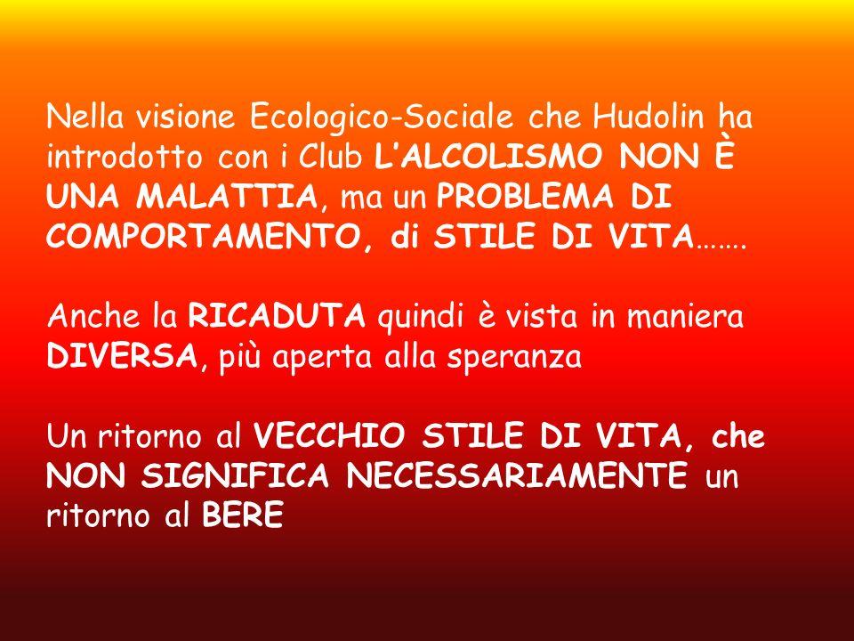 Nella visione Ecologico-Sociale che Hudolin ha introdotto con i Club L'ALCOLISMO NON È UNA MALATTIA, ma un PROBLEMA DI COMPORTAMENTO, di STILE DI VITA…….