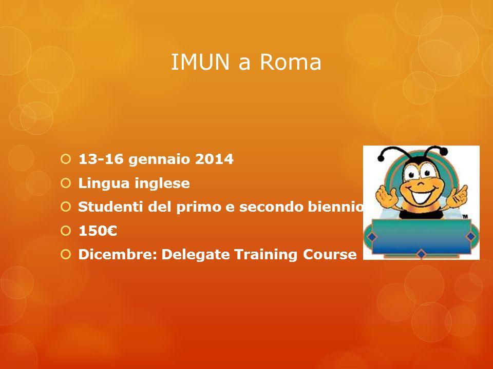 IMUN a Roma 13-16 gennaio 2014 Lingua inglese