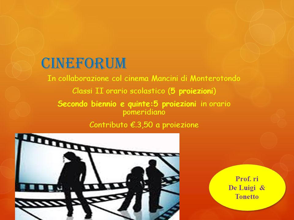 Cineforum In collaborazione col cinema Mancini di Monterotondo
