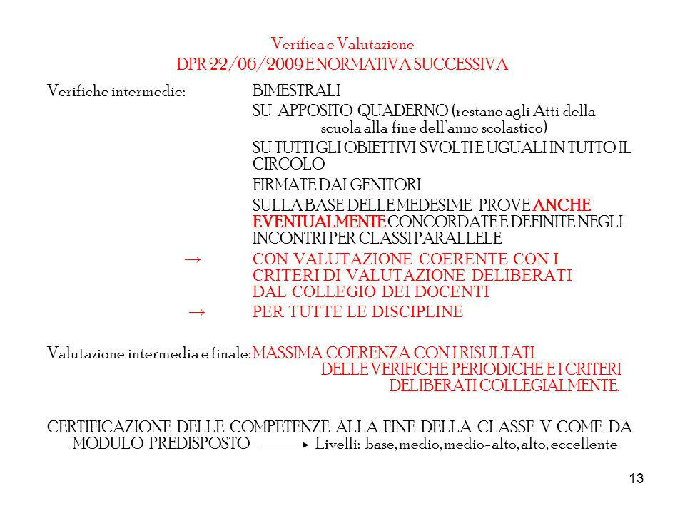 Verifica e Valutazione DPR 22/06/2009 E NORMATIVA SUCCESSIVA