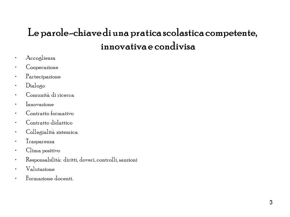 Le parole-chiave di una pratica scolastica competente, innovativa e condivisa