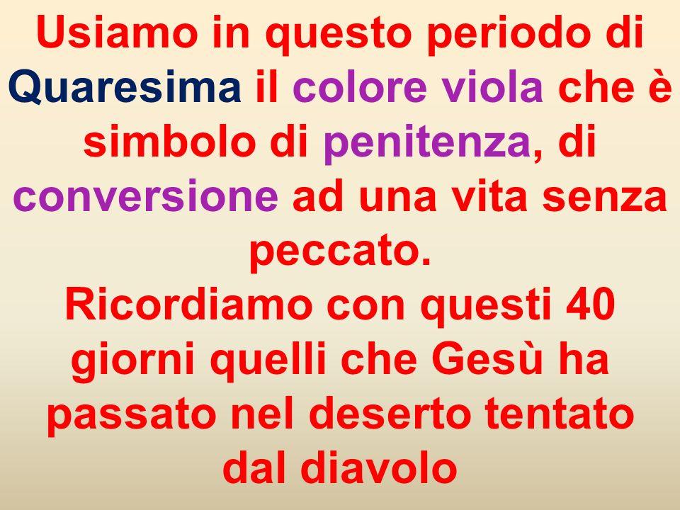 Usiamo in questo periodo di Quaresima il colore viola che è simbolo di penitenza, di conversione ad una vita senza peccato.