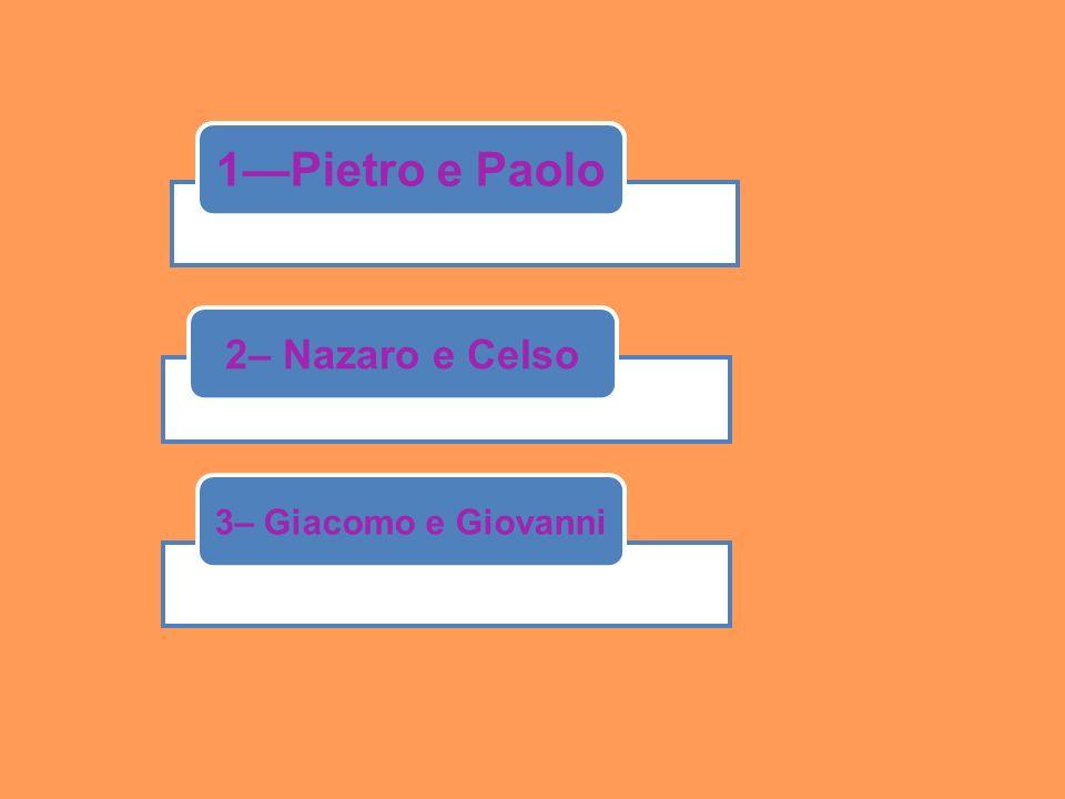 1--balcone 1—Pietro e Paolo 2– Nazaro e Celso 3– Giacomo e Giovanni